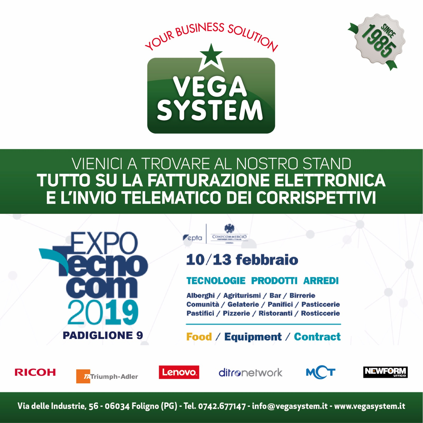 Dal 10 al 13 febbraio Vega System a Expo Tecnocom